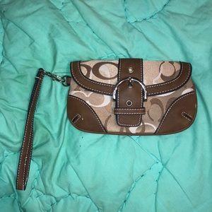 Coach Tan Leather wristlet wallet purse